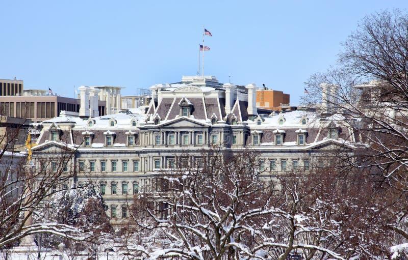 Vecchia neve Washington dell'edificio per uffici di Excecutive fotografie stock