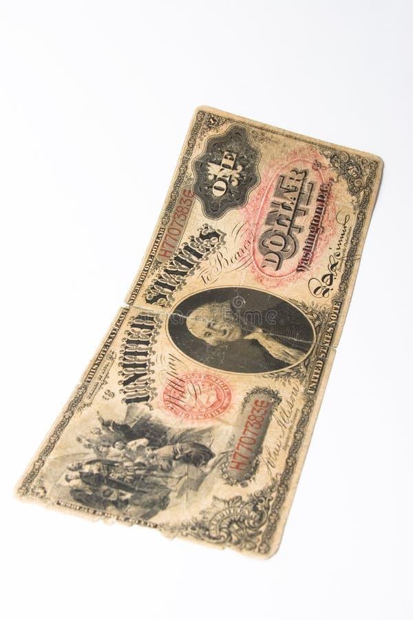 Vecchia nota del dollaro immagini stock
