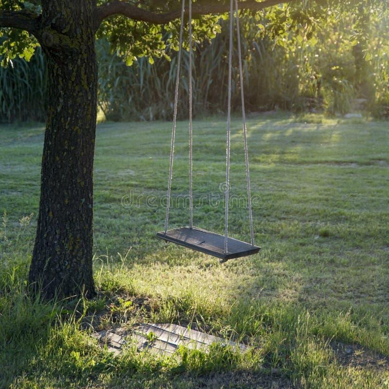 Vecchia oscillazione d'annata di legno del giardino immagine stock libera da diritti