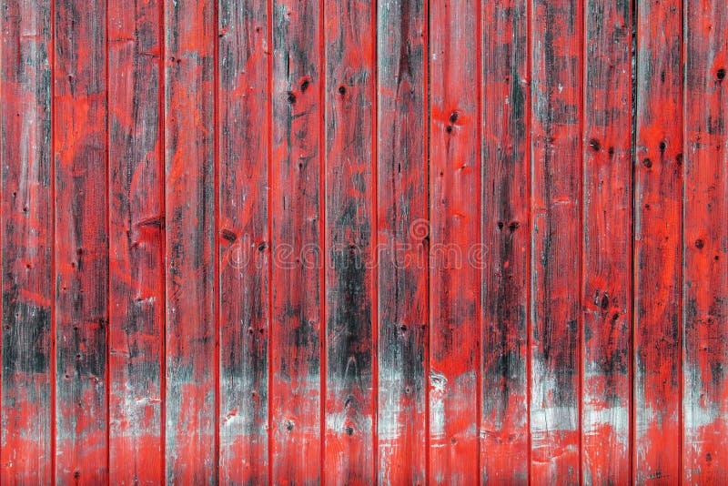 Vecchia parete di legno con pittura rossa Fondo di legno con struttura di stupore di struttura ed il modello caotico di colore In fotografia stock