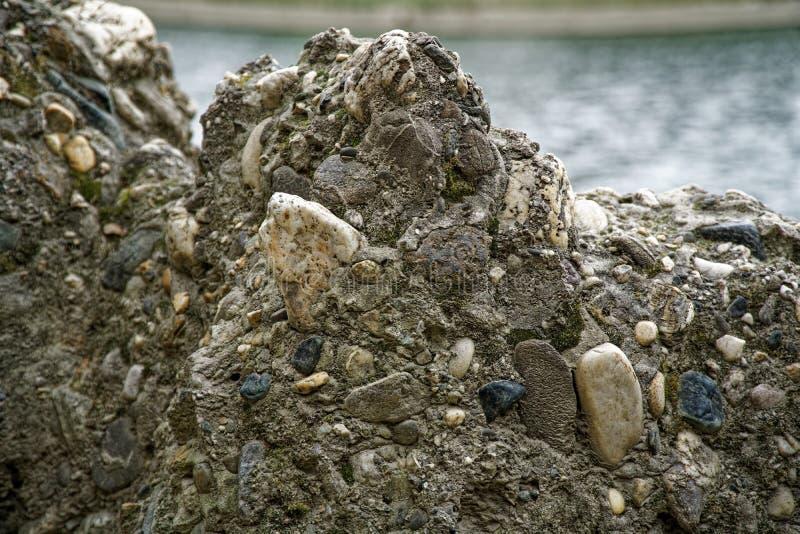 Vecchia parete di pietra con l'edera così backgroundgreen muschio sulla parete fotografia stock