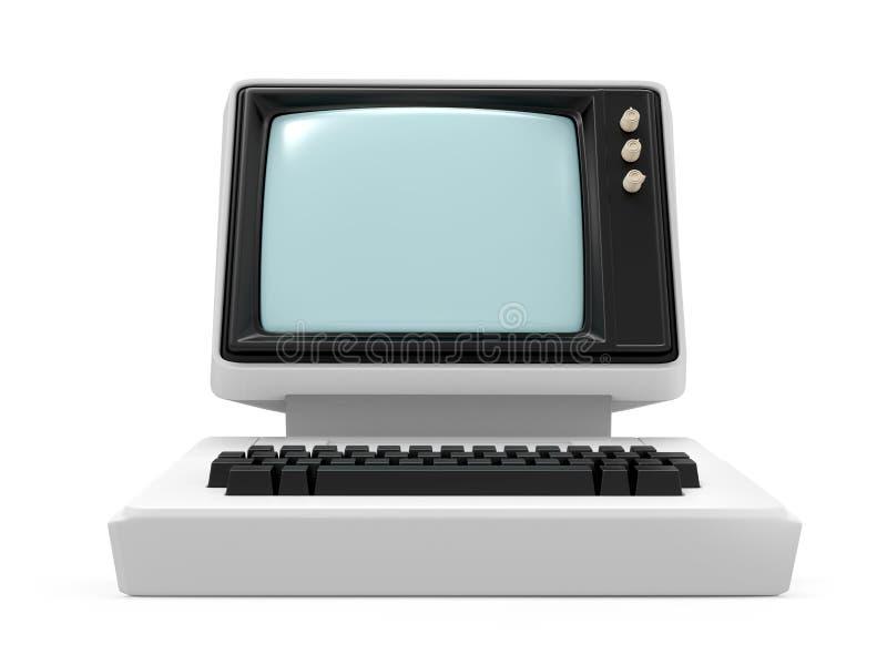 Vecchia parte anteriore con computer personale illustrazione vettoriale