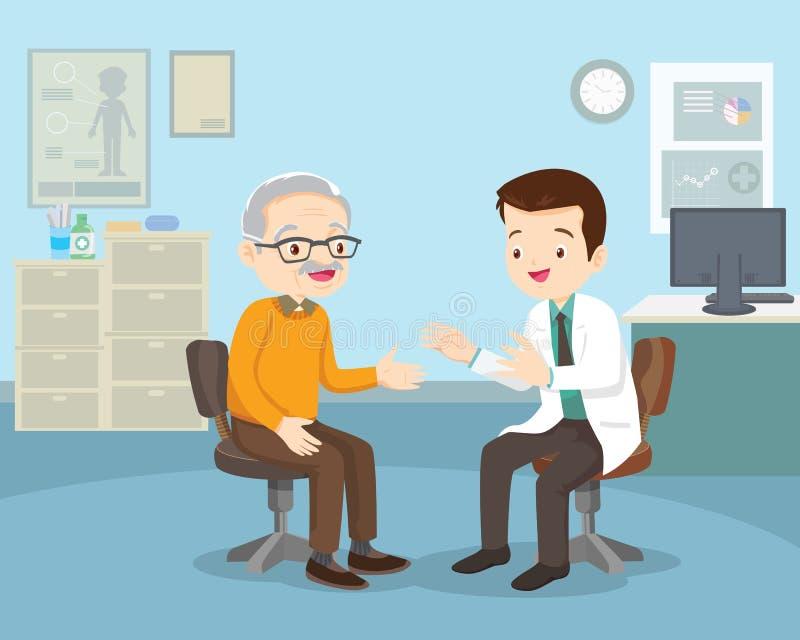 Vecchia paziente Medico Che Parla Con Un Paziente Anziano illustrazione vettoriale