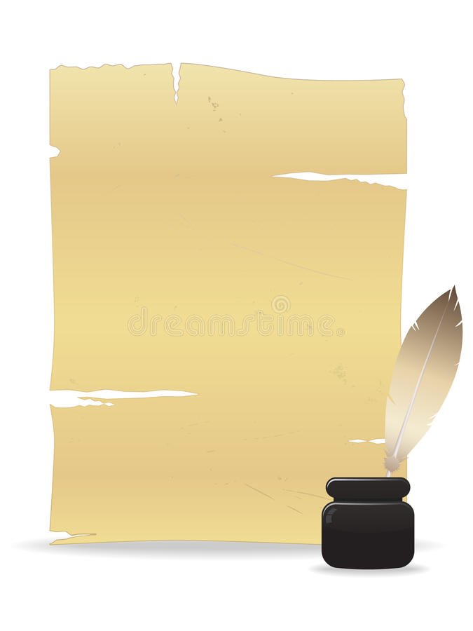 Vecchia penna della piuma e del documento royalty illustrazione gratis