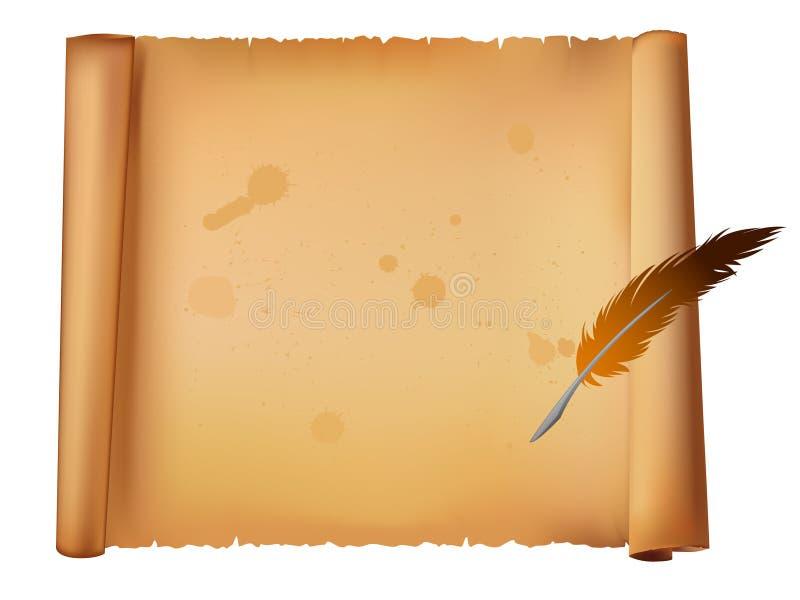Vecchia Penna Della Piuma E Del Documento Fotografia Stock