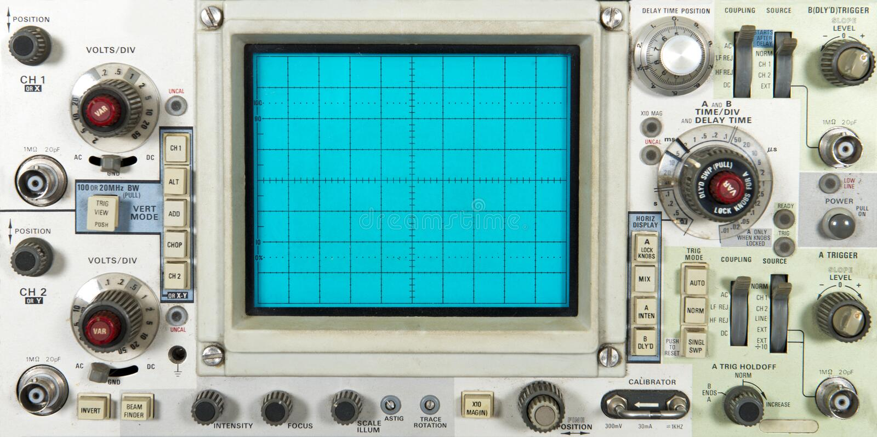 Vecchia piastra frontale elettronica dell'oscilloscopio, tecnologia immagine stock libera da diritti