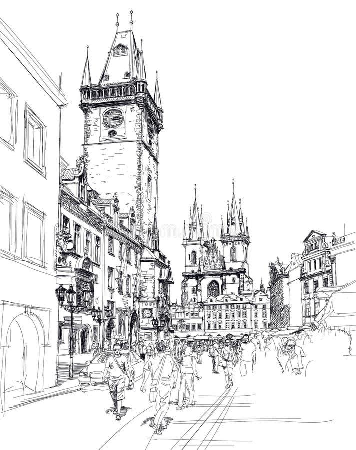 Vecchia piazza, Praga. Abbozzo