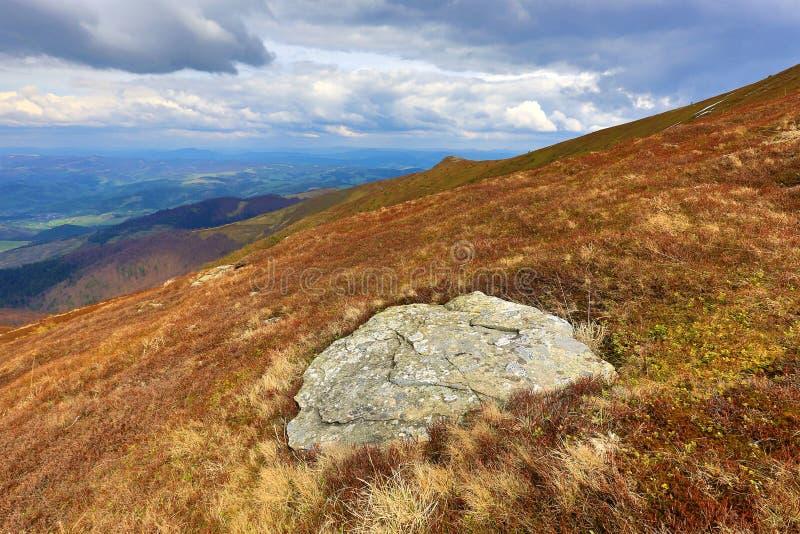 Vecchia pietra sul prato della montagna fotografia stock