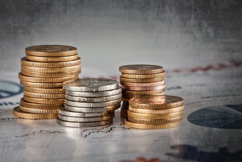 Vecchia pila della moneta fotografia stock libera da diritti