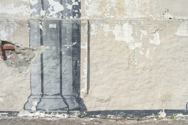 Vecchia pittura della colonna della parete dello stucco immagine stock