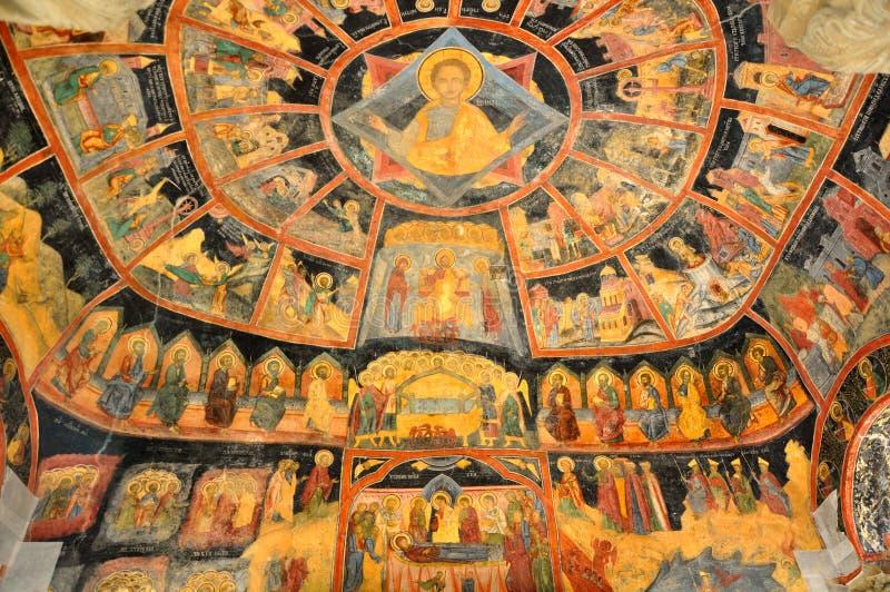 Vecchia pittura di parete ortodossa delle icone fotografia stock