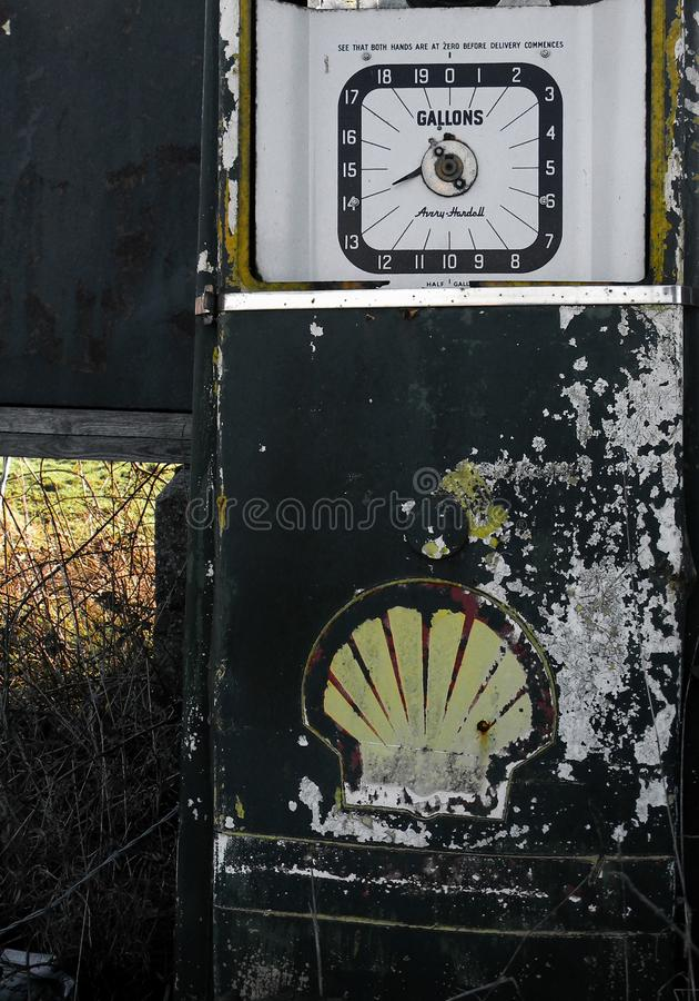 Vecchia pompa a benzina disusa Beccles Norfolk fotografia stock libera da diritti