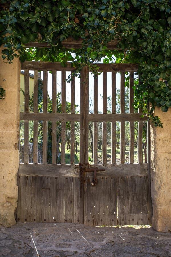 Vecchia porta di legno al giardino fotografia stock libera da diritti