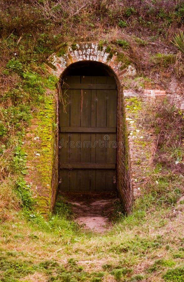 Vecchia porta di legno circondata dal mattone fotografia stock
