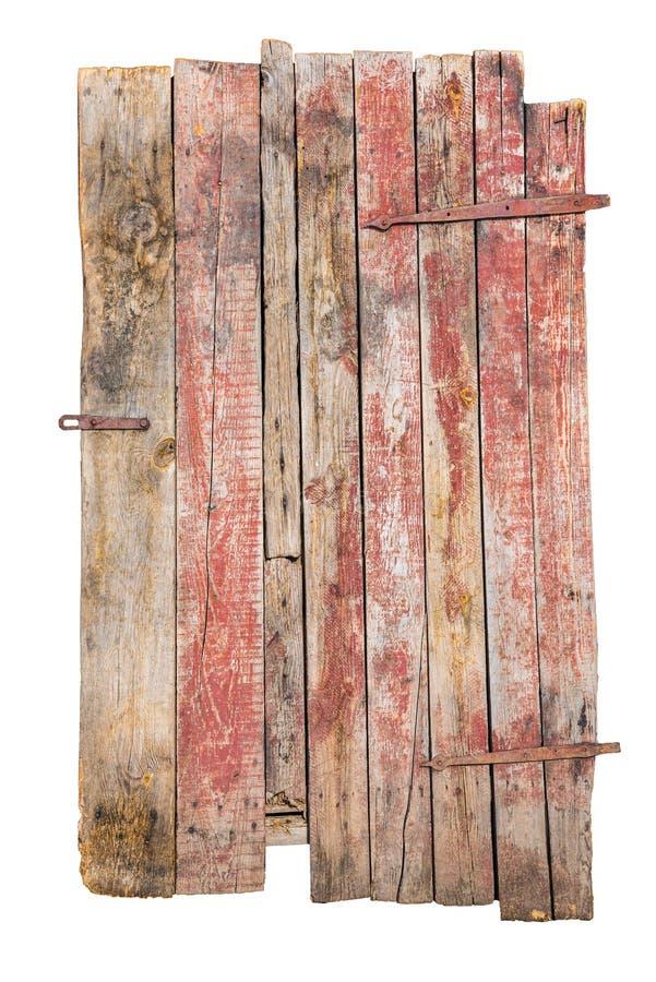 Vecchia porta di legno, colore rosso, isolato su fondo bianco con il percorso di ritaglio, elementi per progettazione fotografia stock libera da diritti