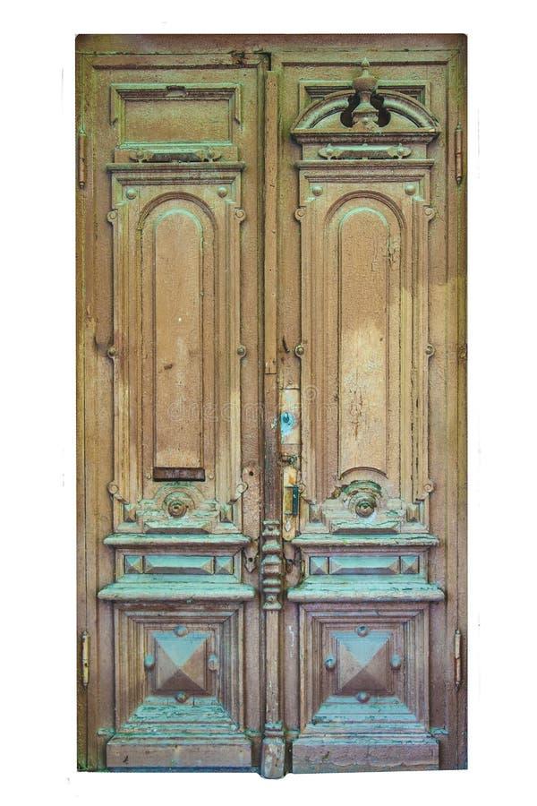 Vecchia porta di legno d'annata su fondo bianco isolato fotografia stock libera da diritti