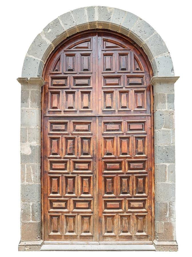 Vecchia porta di legno dell'arco fotografie stock libere da diritti