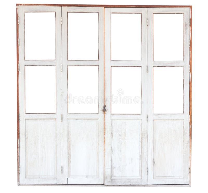 Vecchia porta di legno isolata su fondo bianco immagine stock libera da diritti