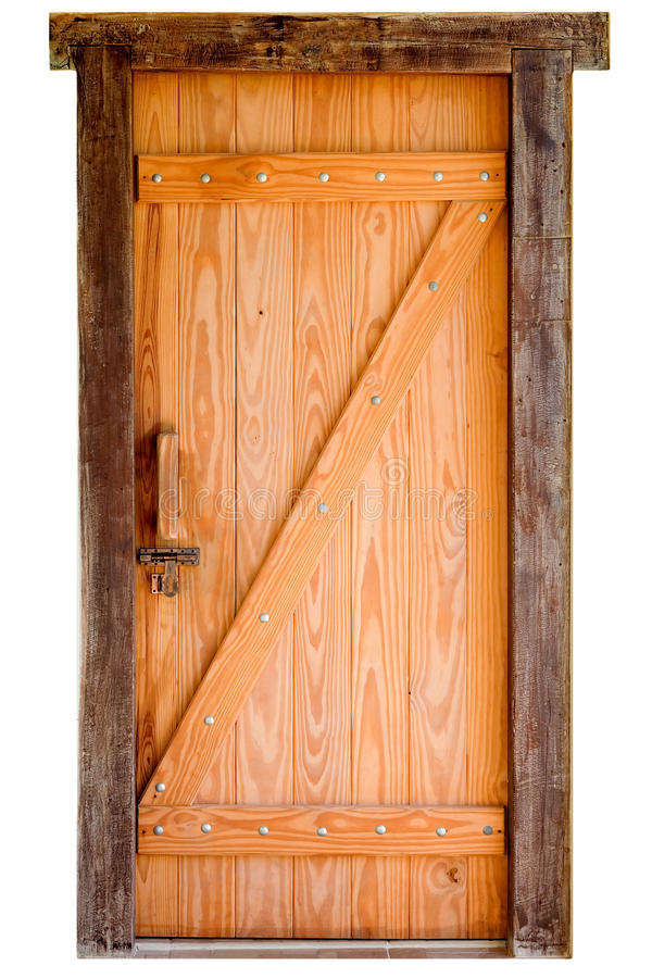 Vecchia porta di legno isolata su fondo bianco fotografia stock