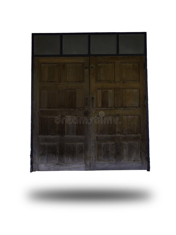 Vecchia porta di legno isolata su fondo bianco Legno d'annata di stile immagini stock libere da diritti