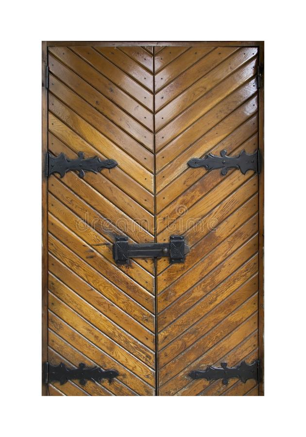 Vecchia porta di legno marrone isolata su fondo bianco fotografia stock libera da diritti