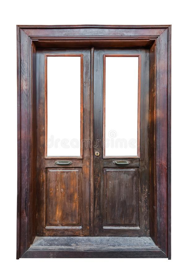 Vecchia porta principale di legno con l'intelaiatura fotografie stock