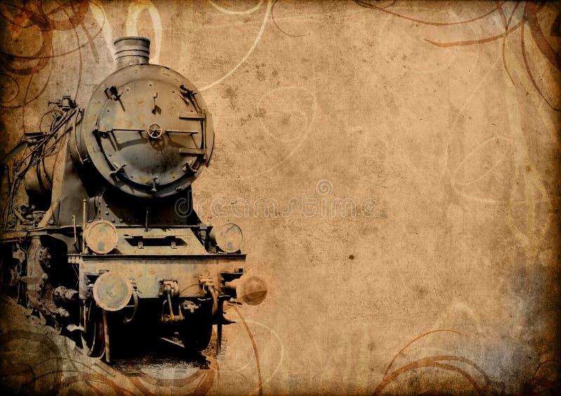 Vecchia priorità bassa del treno della retro annata royalty illustrazione gratis