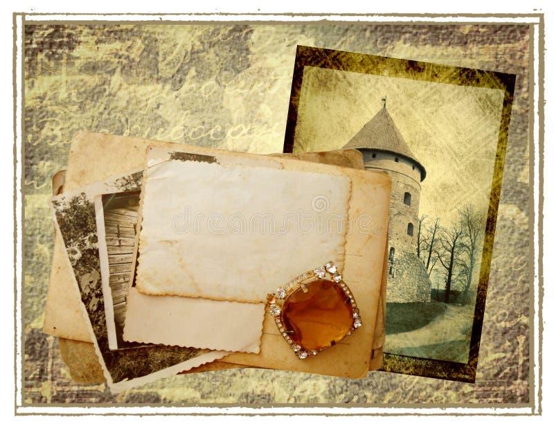 Vecchia priorità bassa delle cartoline immagine stock
