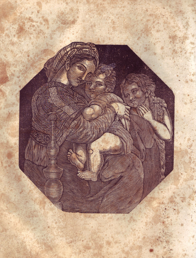 Vecchia priorità bassa di carta con il Virgin Mary immagine stock libera da diritti