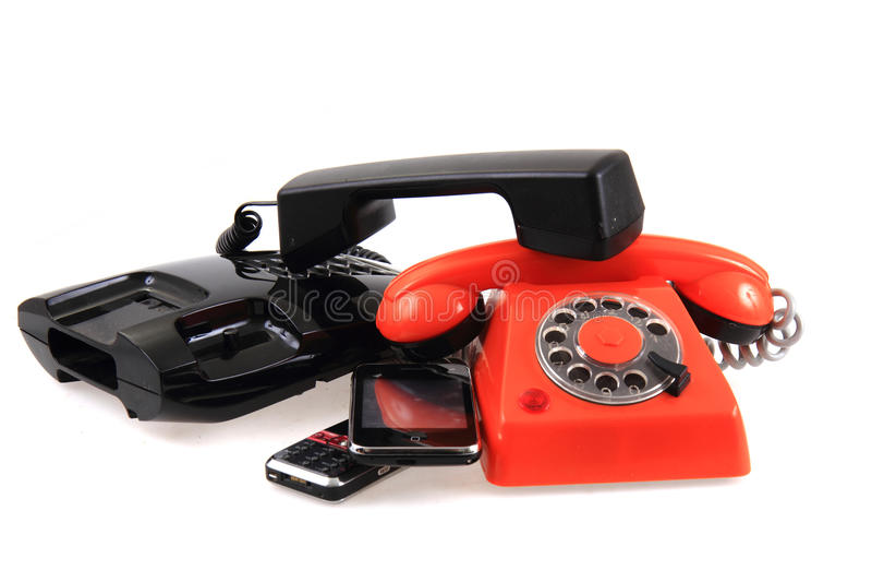 Vecchia raccolta dei telefoni fotografia stock