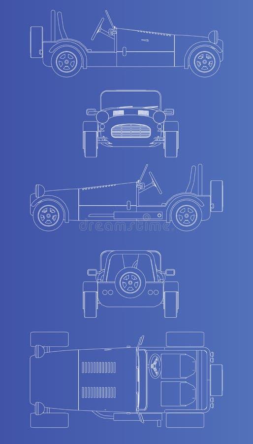 Vecchia retro automobile di stile illustrazione di stock
