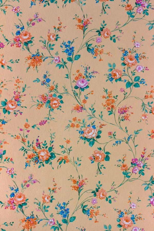 Vecchia retro carta da parati floreale, fondo, backgroun fotografia stock