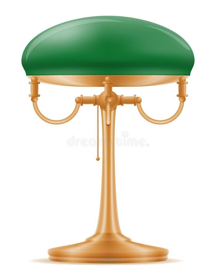 Vecchia retro illustrazione d'annata di vettore delle azione dell'icona della lampada da tavolo illustrazione di stock