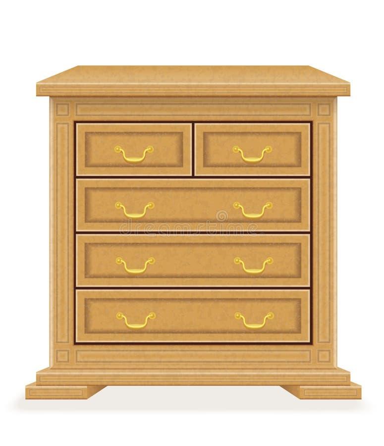 Vecchia retro illustrazione di legno di vettore del cassettone della mobilia illustrazione di stock