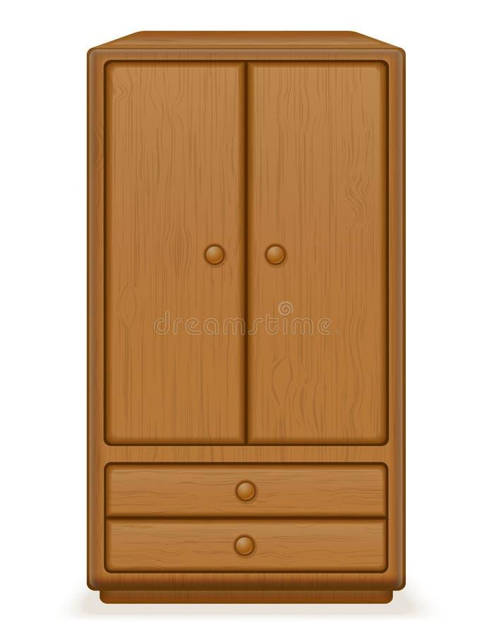 Vecchia retro illustrazione di legno di vettore del guardaroba della mobilia illustrazione vettoriale