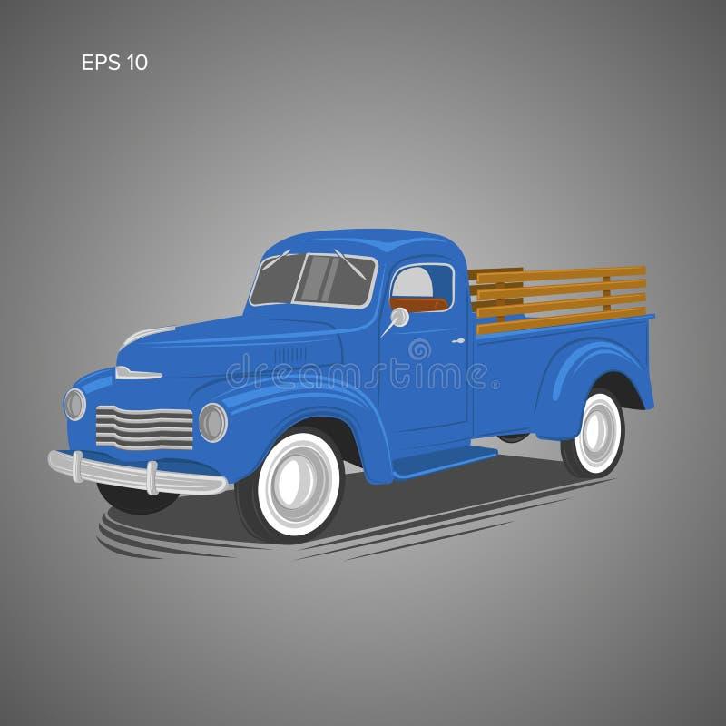 Vecchia retro illustrazione di vettore del camioncino Veicolo di trasporto d'annata illustrazione di stock