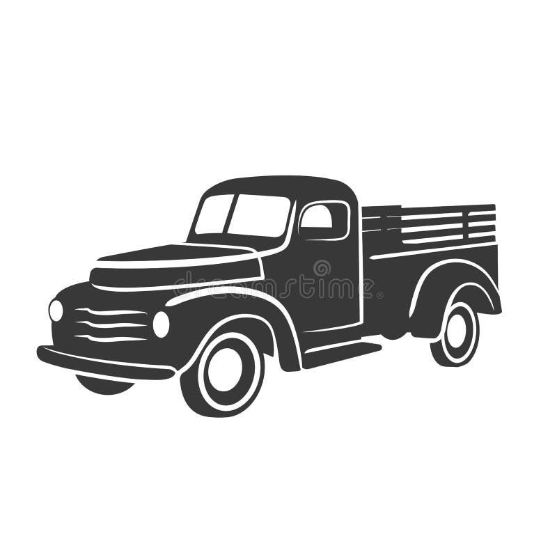 Vecchia retro illustrazione di vettore del camioncino Veicolo di trasporto d'annata royalty illustrazione gratis