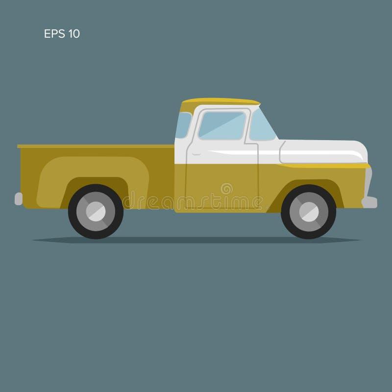 Vecchia retro illustrazione di vettore del camioncino Veicolo di trasporto d'annata illustrazione vettoriale