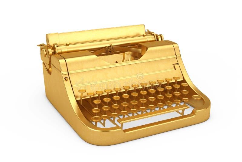 Vecchia retro macchina da scrivere dorata d'annata rappresentazione 3d fotografia stock