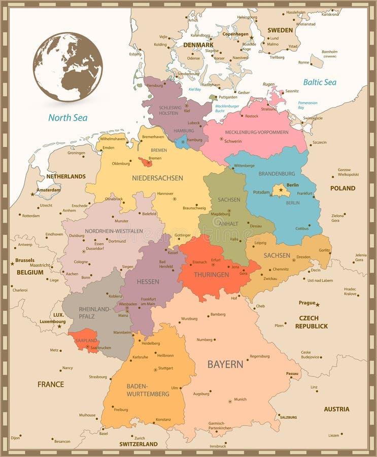Vecchia retro mappa dei colori della Germania royalty illustrazione gratis