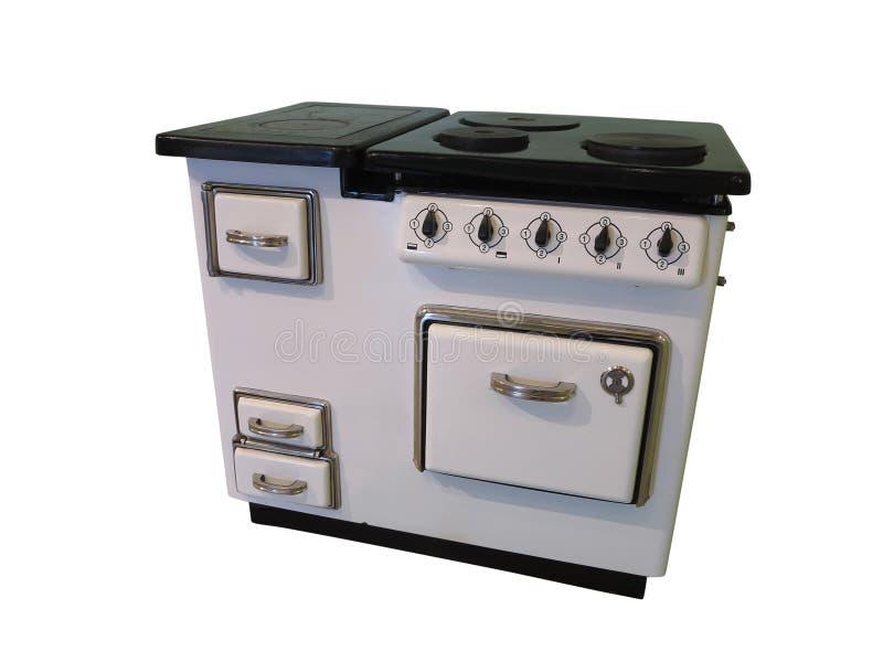 Vecchia retro stufa di cucina d'annata bianca isolata sul backgrou bianco fotografie stock libere da diritti