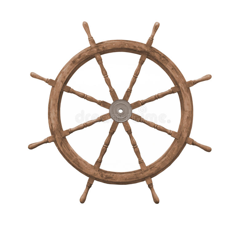 Vecchia rotella di legno delle navi isolata. fotografia stock libera da diritti