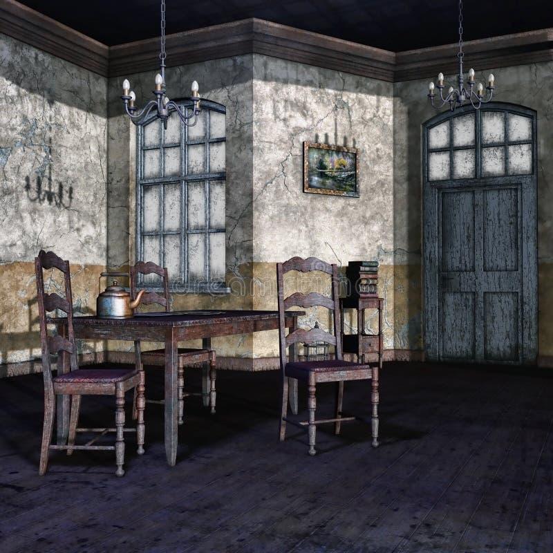 Vecchia sala da pranzo illustrazione vettoriale