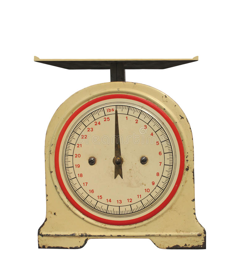 Vecchia scala del peso della sorgente con la manopola isolata. fotografie stock