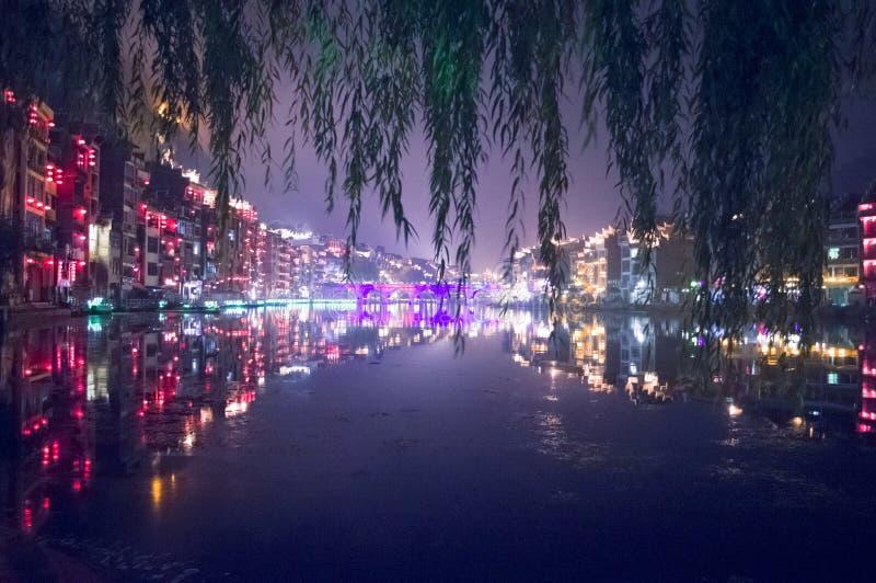 Vecchia scena della città di Zhenyuan alla notte 2 fotografia stock libera da diritti