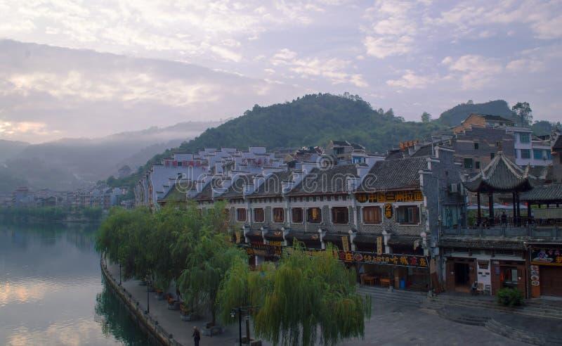 Vecchia scena 6 di alba della città di Zhenyuan fotografia stock