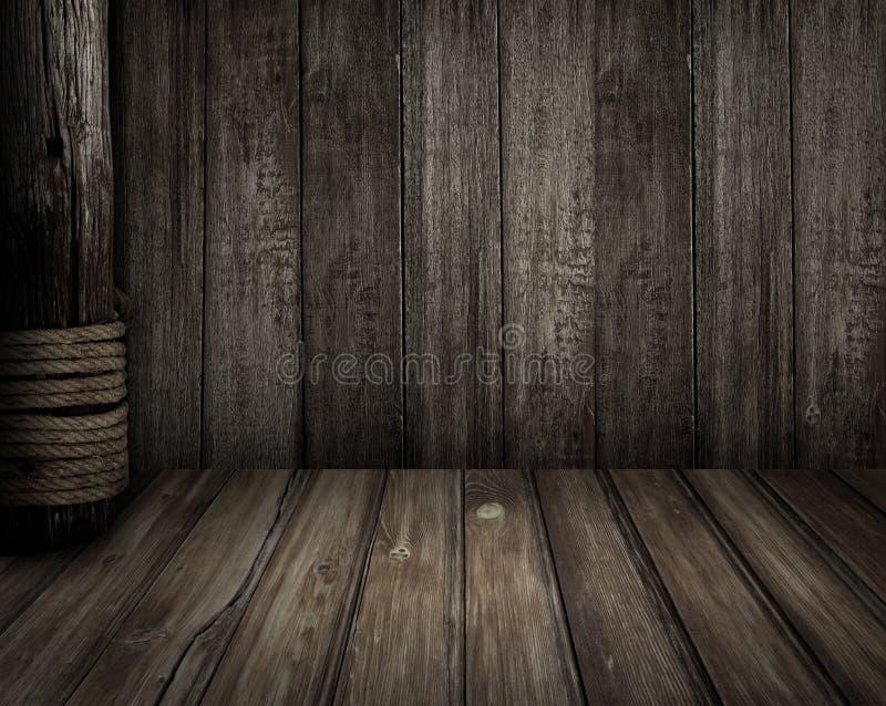 Vecchia scena di legno come fondo di tema dei pirati immagine stock libera da diritti
