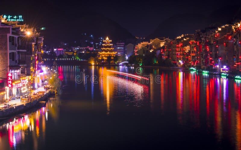 Vecchia scena 3 di notte della città di Zhenyuan fotografia stock libera da diritti