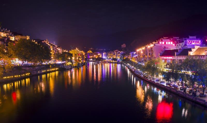 Vecchia scena 6 di notte della città di Zhenyuan fotografie stock libere da diritti