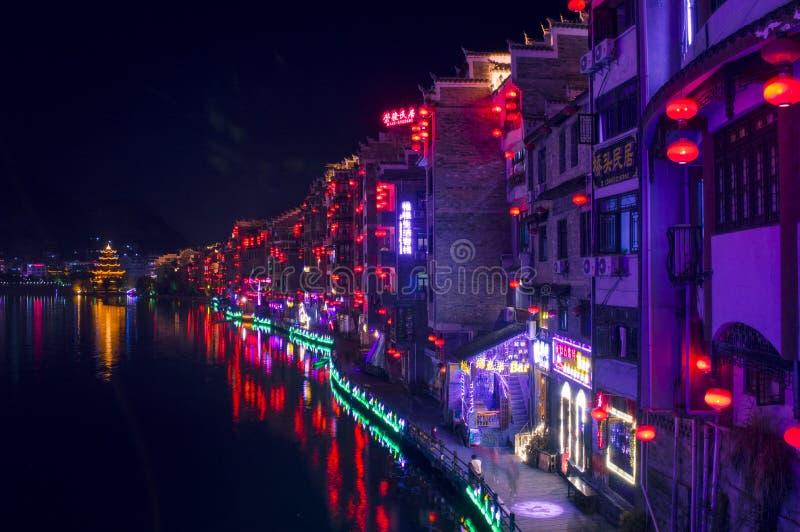 Vecchia scena 12 di notte della città di Zhenyuan immagine stock libera da diritti